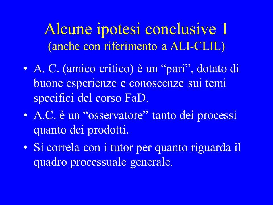 Alcune ipotesi conclusive 1 (anche con riferimento a ALI-CLIL) A. C. (amico critico) è un pari, dotato di buone esperienze e conoscenze sui temi speci