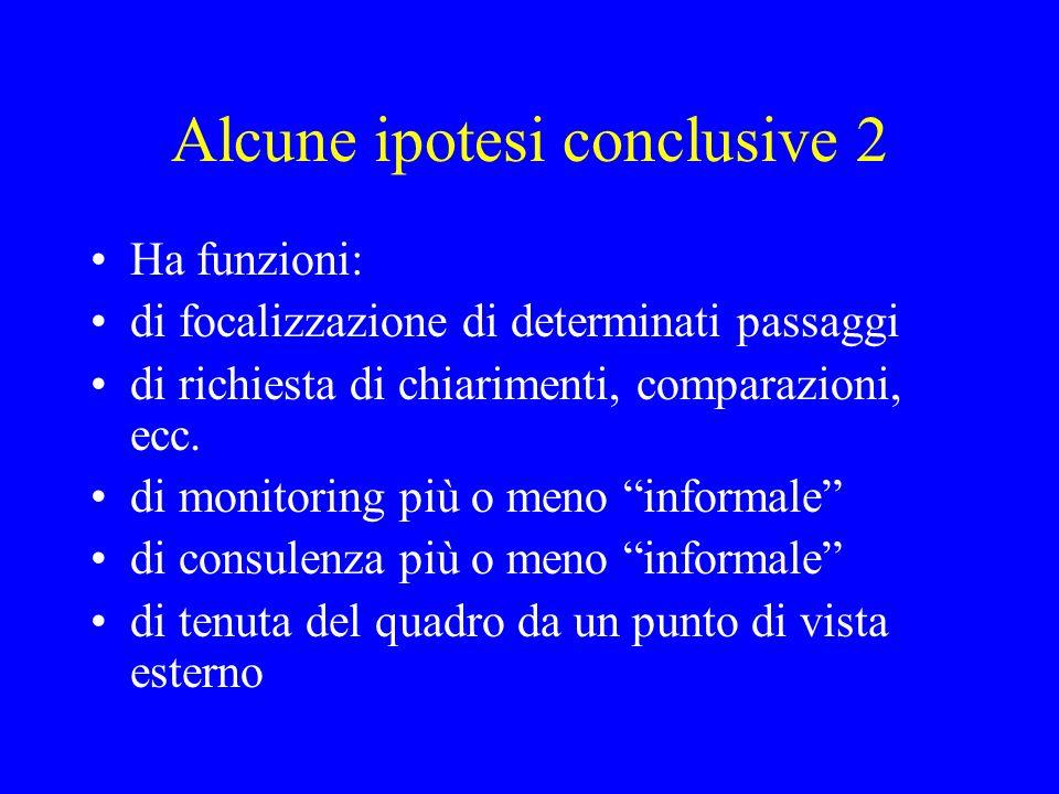 Alcune ipotesi conclusive 2 Ha funzioni: di focalizzazione di determinati passaggi di richiesta di chiarimenti, comparazioni, ecc. di monitoring più o