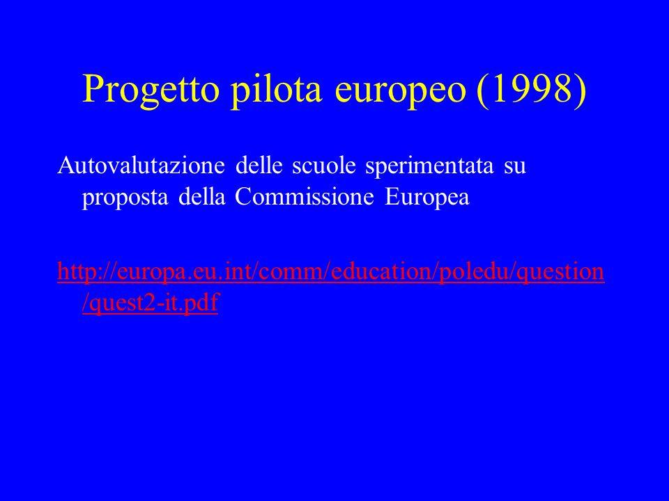 Progetto pilota europeo (1998) Autovalutazione delle scuole sperimentata su proposta della Commissione Europea http://europa.eu.int/comm/education/pol