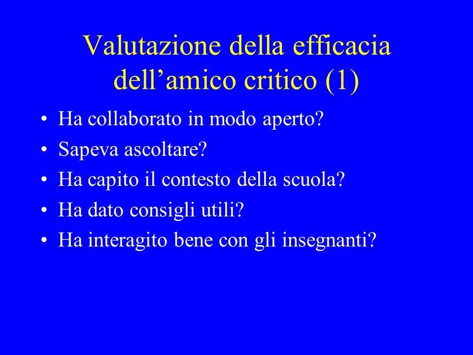 Valutazione della efficacia dellamico critico (2) Ha comunicato bene le proprie idee.
