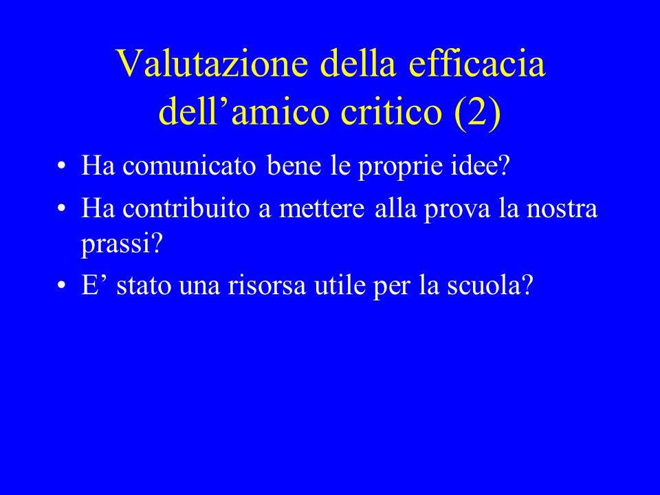 Valutazione della efficacia dellamico critico (2) Ha comunicato bene le proprie idee? Ha contribuito a mettere alla prova la nostra prassi? E stato un