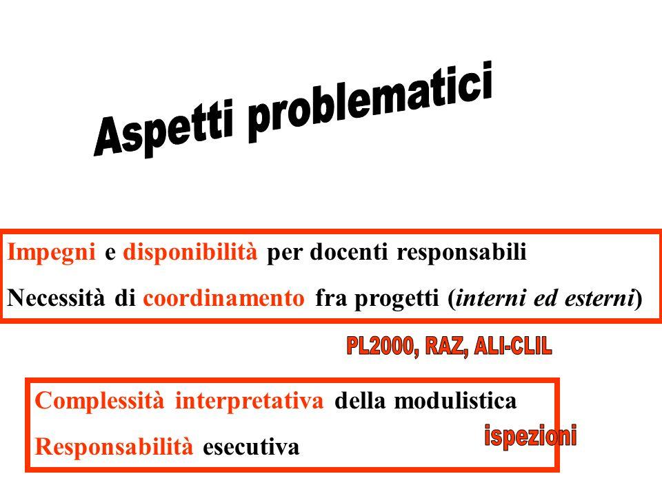 Impegni e disponibilità per docenti responsabili Necessità di coordinamento fra progetti (interni ed esterni) Complessità interpretativa della modulistica Responsabilità esecutiva