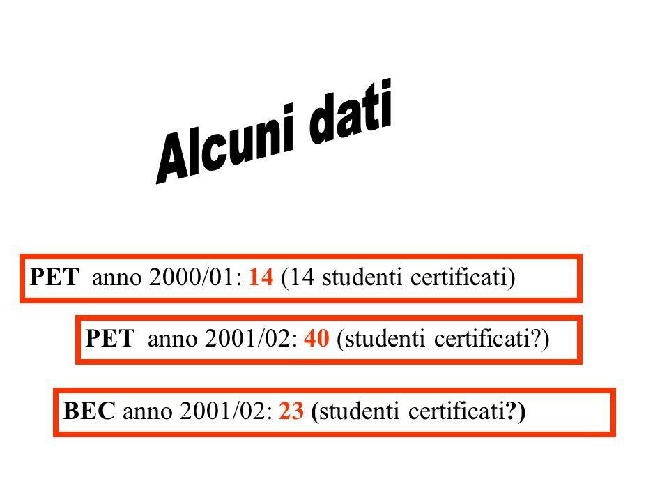 PET anno 2000/01: 14 (14 studenti certificati) PET anno 2001/02: 40 (studenti certificati ) BEC anno 2001/02: 23 (studenti certificati )