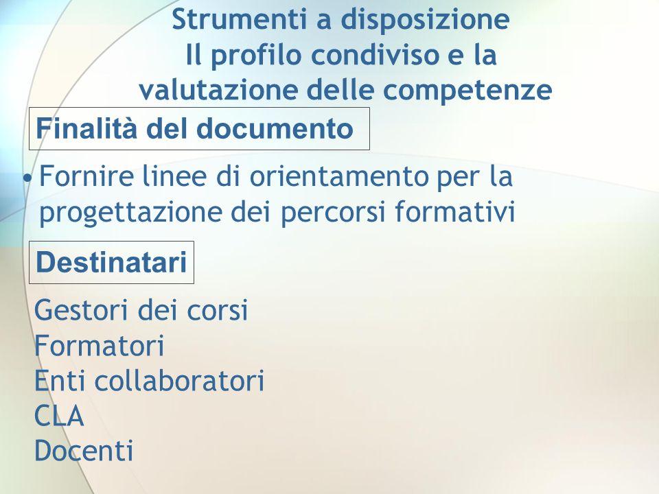 Finalità del documento Fornire linee di orientamento per la progettazione dei percorsi formativi Strumenti a disposizione Il profilo condiviso e la va