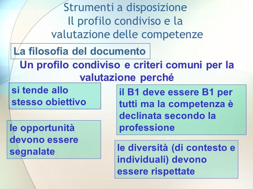 La filosofia del documento Un profilo condiviso e criteri comuni per la valutazione perché si tende allo stesso obiettivo il B1 deve essere B1 per tut