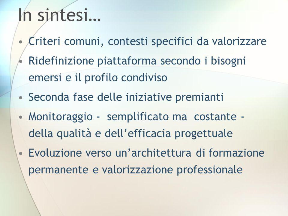 In sintesi… Criteri comuni, contesti specifici da valorizzare Ridefinizione piattaforma secondo i bisogni emersi e il profilo condiviso Seconda fase d