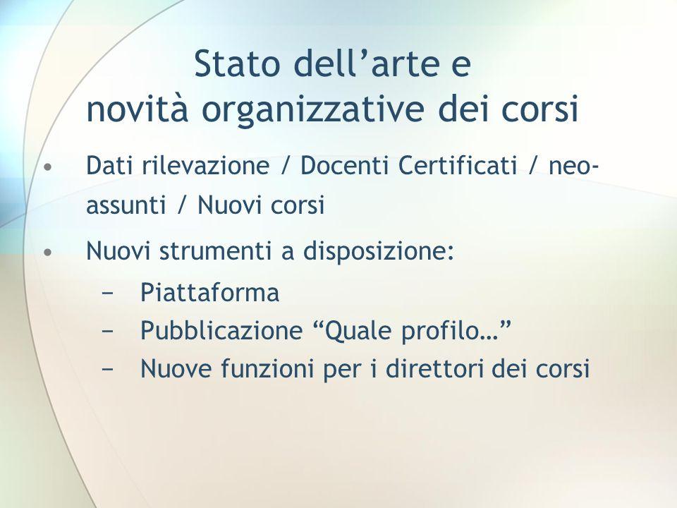 Stato dellarte e novità organizzative dei corsi Dati rilevazione / Docenti Certificati / neo- assunti / Nuovi corsi Nuovi strumenti a disposizione: Pi