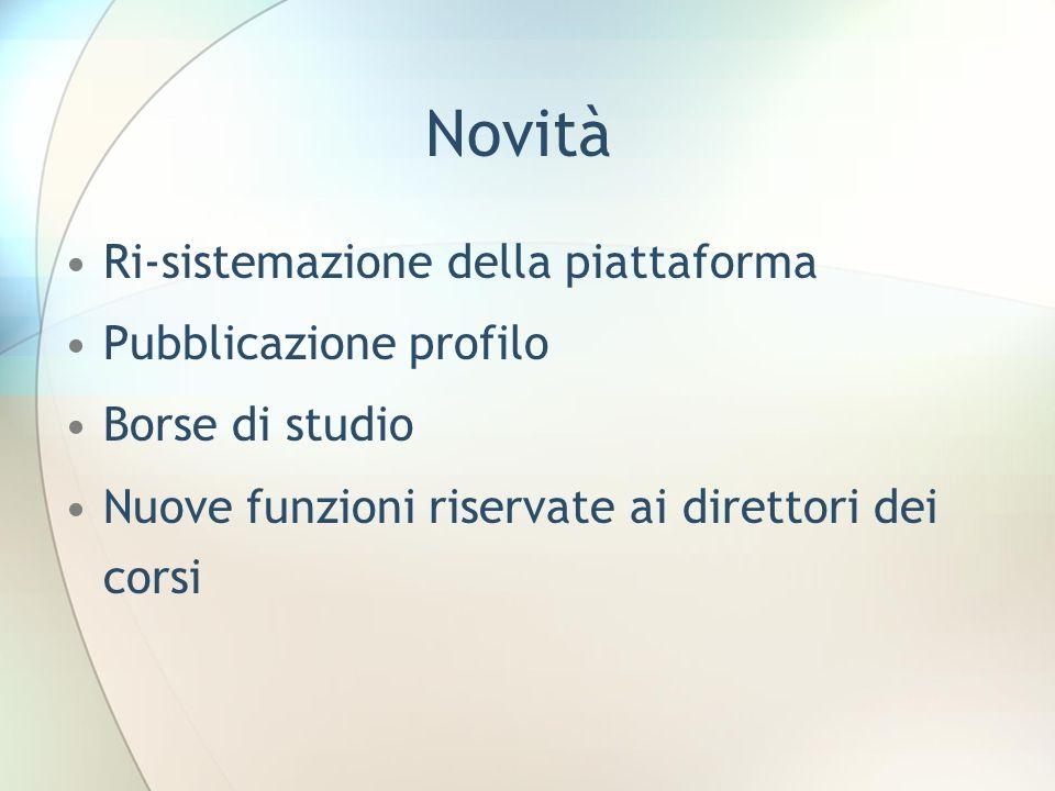 Novità Ri-sistemazione della piattaforma Pubblicazione profilo Borse di studio Nuove funzioni riservate ai direttori dei corsi