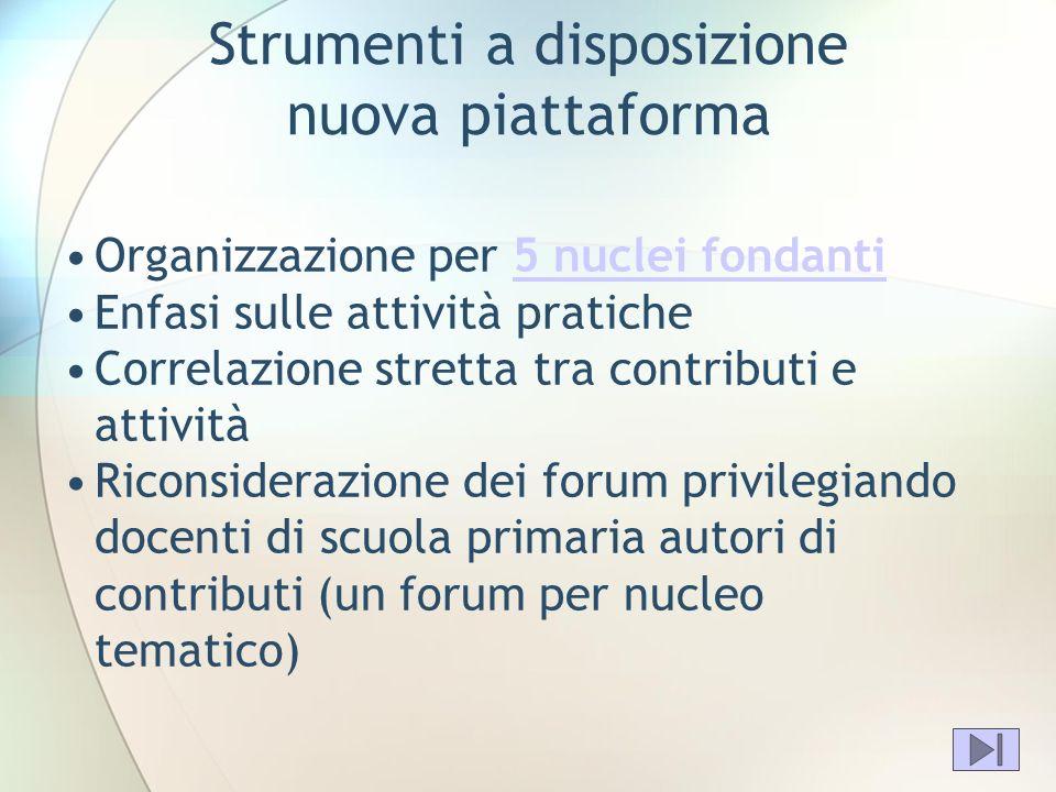 Strumenti a disposizione nuova piattaforma Organizzazione per 5 nuclei fondanti5 nuclei fondanti Enfasi sulle attività pratiche Correlazione stretta t