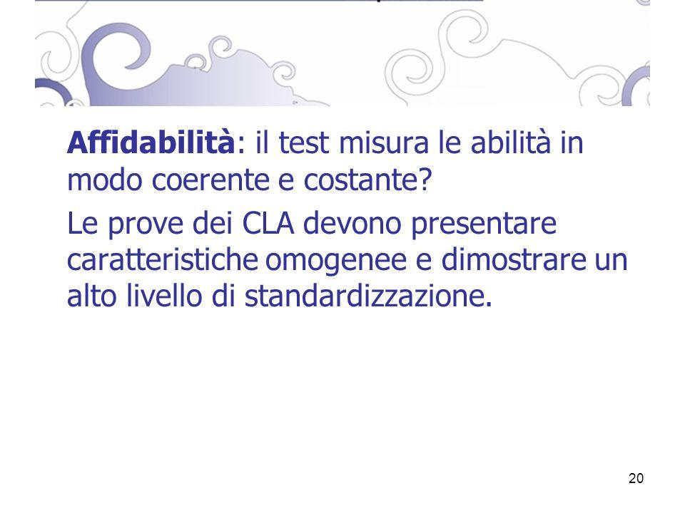 20 Affidabilità: il test misura le abilità in modo coerente e costante.
