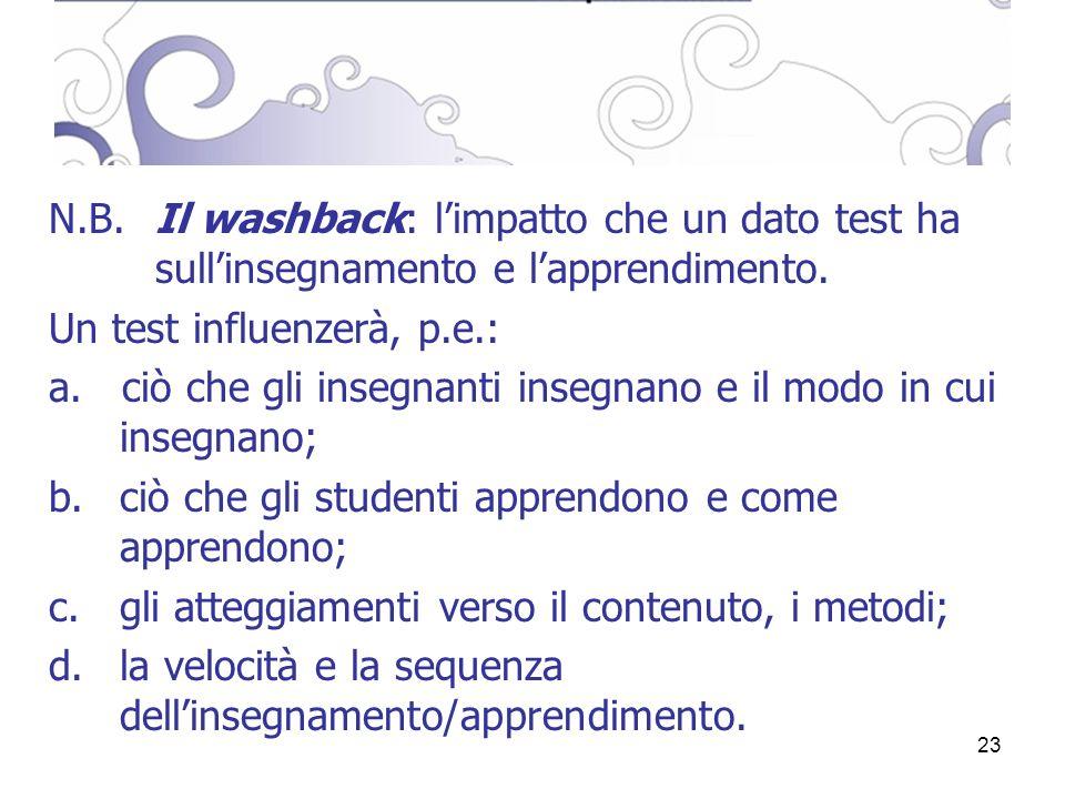 23 N.B. Il washback: limpatto che un dato test ha sullinsegnamento e lapprendimento.