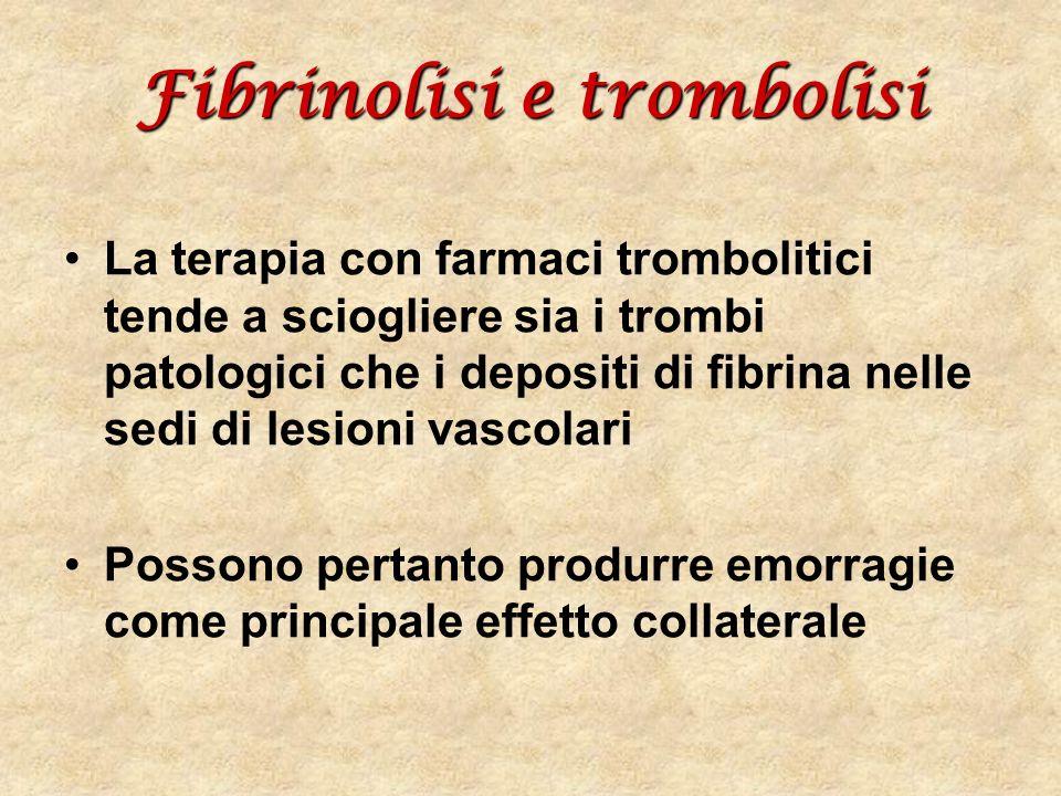 Fibrinolisi e trombolisi La terapia con farmaci trombolitici tende a sciogliere sia i trombi patologici che i depositi di fibrina nelle sedi di lesion