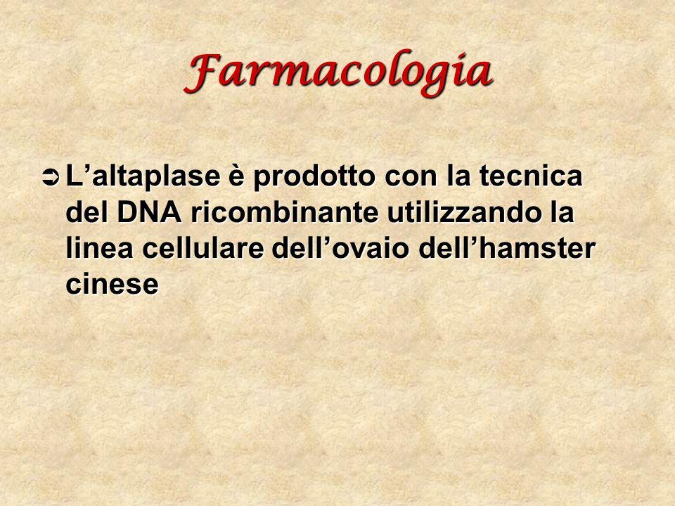 Farmacologia Laltaplase è prodotto con la tecnica del DNA ricombinante utilizzando la linea cellulare dellovaio dellhamster cinese Laltaplase è prodot