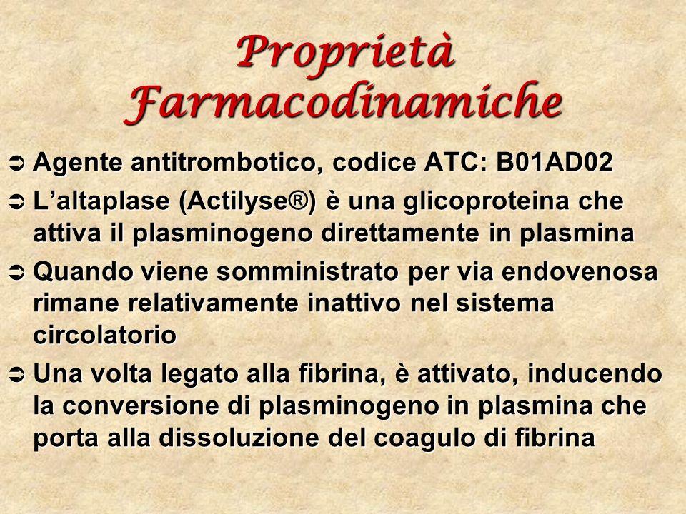 Proprietà Farmacodinamiche Agente antitrombotico, codice ATC: B01AD02 Agente antitrombotico, codice ATC: B01AD02 Laltaplase (Actilyse®) è una glicopro
