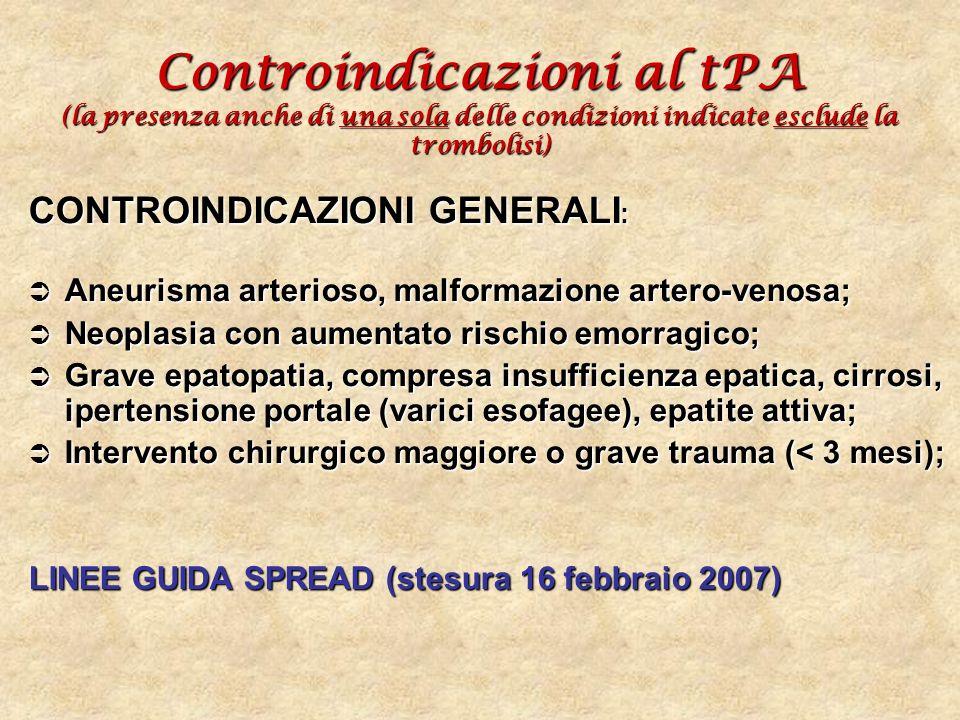 Controindicazioni al tPA (la presenza anche di una sola delle condizioni indicate esclude la trombolisi) CONTROINDICAZIONI GENERALI : Aneurisma arteri