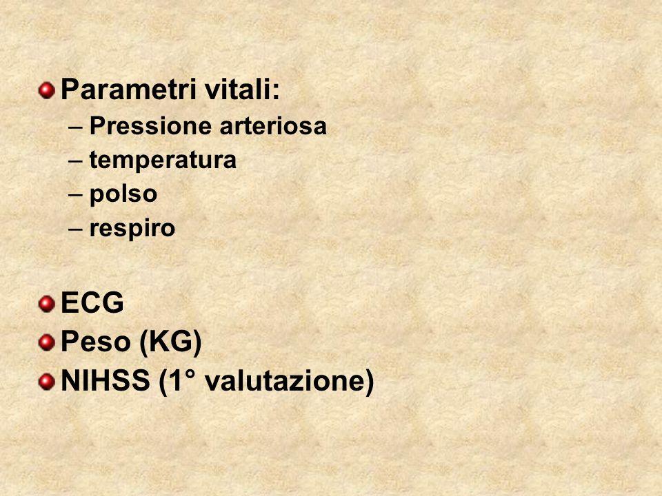 Parametri vitali: –Pressione arteriosa –temperatura –polso –respiro ECG Peso (KG) NIHSS (1° valutazione)
