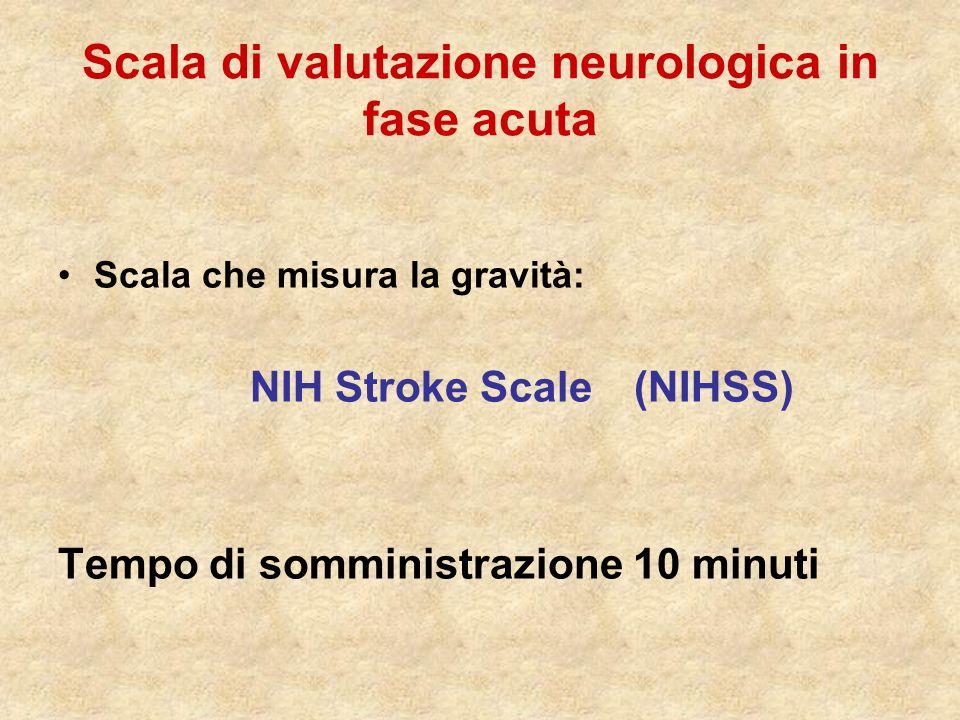 Scala di valutazione neurologica in fase acuta Scala che misura la gravità: NIH Stroke Scale (NIHSS) Tempo di somministrazione 10 minuti