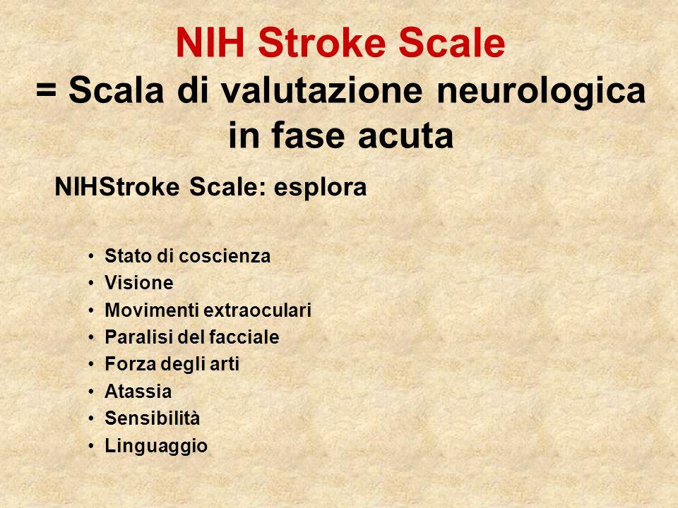 NIH Stroke Scale = Scala di valutazione neurologica in fase acuta NIHStroke Scale: esplora Stato di coscienza Visione Movimenti extraoculari Paralisi