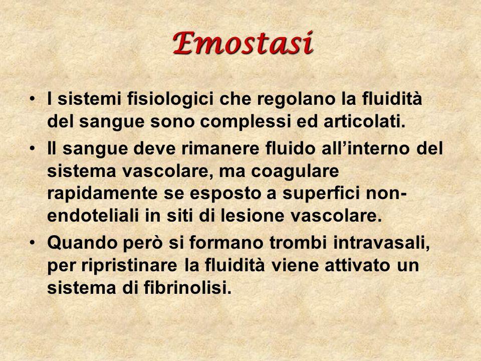 Emostasi I sistemi fisiologici che regolano la fluidità del sangue sono complessi ed articolati. Il sangue deve rimanere fluido allinterno del sistema