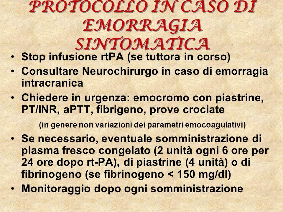 PROTOCOLLO IN CASO DI EMORRAGIA SINTOMATICA Stop infusione rtPA (se tuttora in corso) Consultare Neurochirurgo in caso di emorragia intracranica Chied