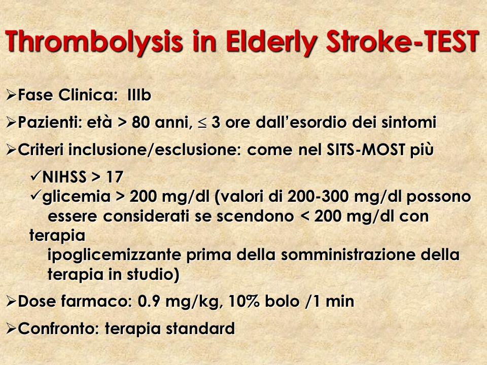 Fase Clinica: IIIb Fase Clinica: IIIb Pazienti: età > 80 anni, 3 ore dallesordio dei sintomi Pazienti: età > 80 anni, 3 ore dallesordio dei sintomi Cr