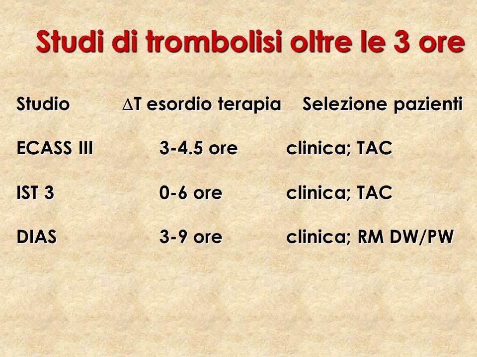 Studi di trombolisi oltre le 3 ore Studio T esordio terapiaSelezione pazienti ECASS III3-4.5 ore clinica; TAC IST 30-6 ore clinica; TAC DIAS3-9 ore cl