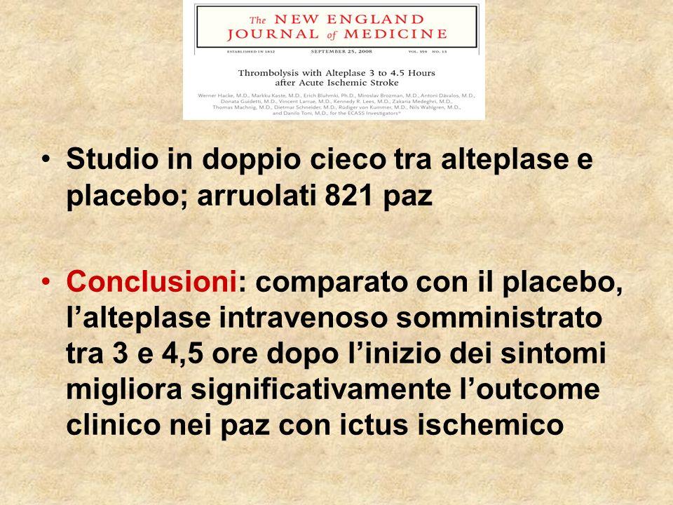 Studio in doppio cieco tra alteplase e placebo; arruolati 821 paz Conclusioni: comparato con il placebo, lalteplase intravenoso somministrato tra 3 e