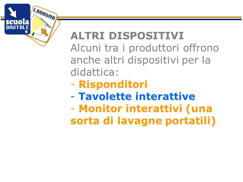 ALTRI DISPOSITIVI Alcuni tra i produttori offrono anche altri dispositivi per la didattica: - Risponditori - Tavolette interattive - Monitor interatti