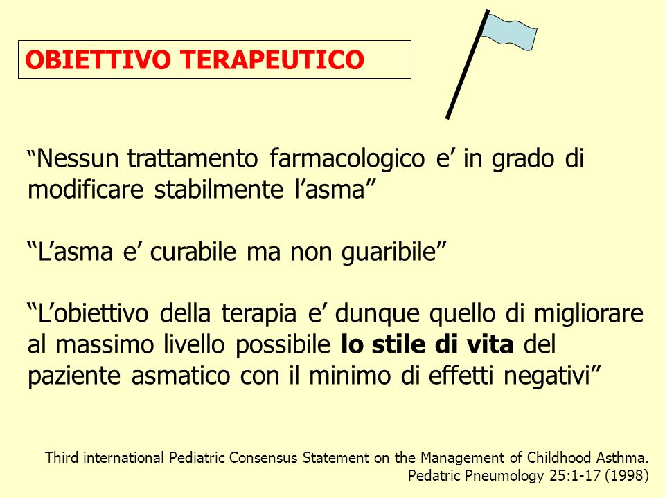 OBIETTIVO TERAPEUTICO Third international Pediatric Consensus Statement on the Management of Childhood Asthma. Pedatric Pneumology 25:1-17 (1998) Ness