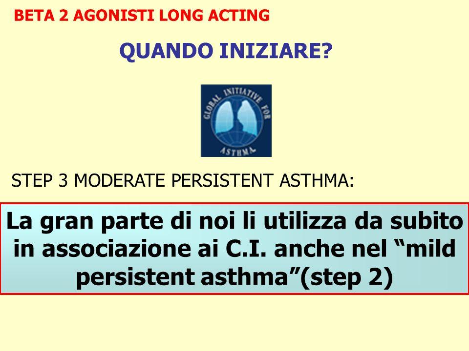 BETA 2 AGONISTI LONG ACTING STEP 3 MODERATE PERSISTENT ASTHMA: Criteria for introduction of add-on therapy: Se non raggiunto un adeguate control Se la dose di S.I.