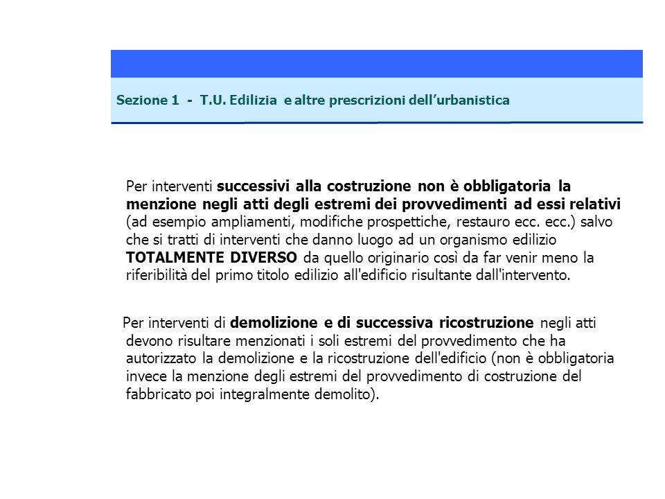 Per interventi successivi alla costruzione non è obbligatoria la menzione negli atti degli estremi dei provvedimenti ad essi relativi (ad esempio ampl