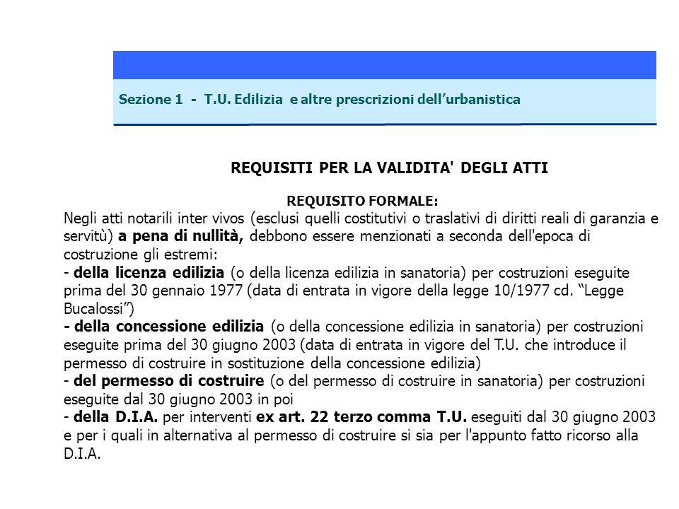 Sezione 1 - T.U. Edilizia e altre prescrizioni dellurbanistica REQUISITI PER LA VALIDITA' DEGLI ATTI REQUISITO FORMALE: Negli atti notarili inter vivo