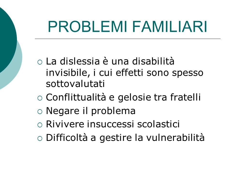 PROBLEMI FAMILIARI La dislessia è una disabilità invisibile, i cui effetti sono spesso sottovalutati Conflittualità e gelosie tra fratelli Negare il p