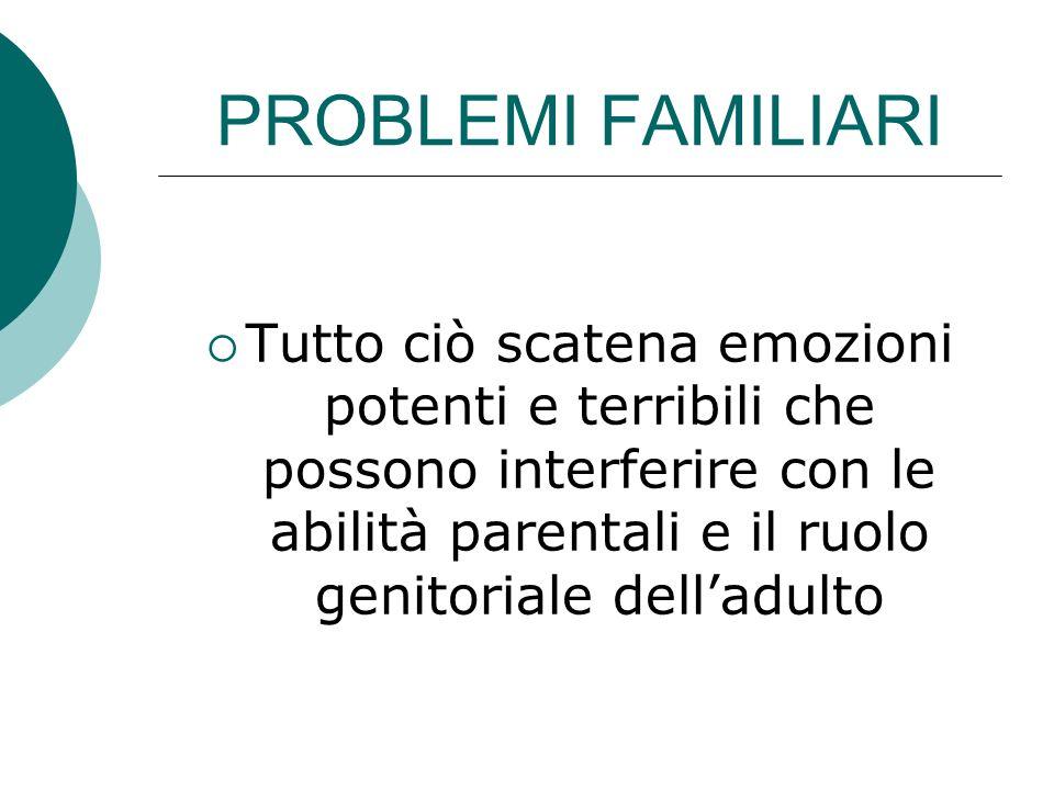 PROBLEMI FAMILIARI Tutto ciò scatena emozioni potenti e terribili che possono interferire con le abilità parentali e il ruolo genitoriale delladulto