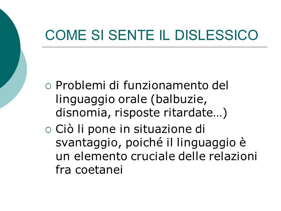 COME SI SENTE IL DISLESSICO Problemi di funzionamento del linguaggio orale (balbuzie, disnomia, risposte ritardate…) Ciò li pone in situazione di svan