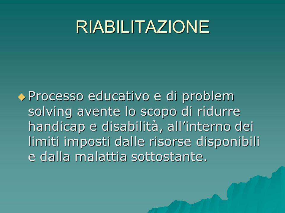 RIABILITAZIONE Processo educativo e di problem solving avente lo scopo di ridurre handicap e disabilità, allinterno dei limiti imposti dalle risorse d