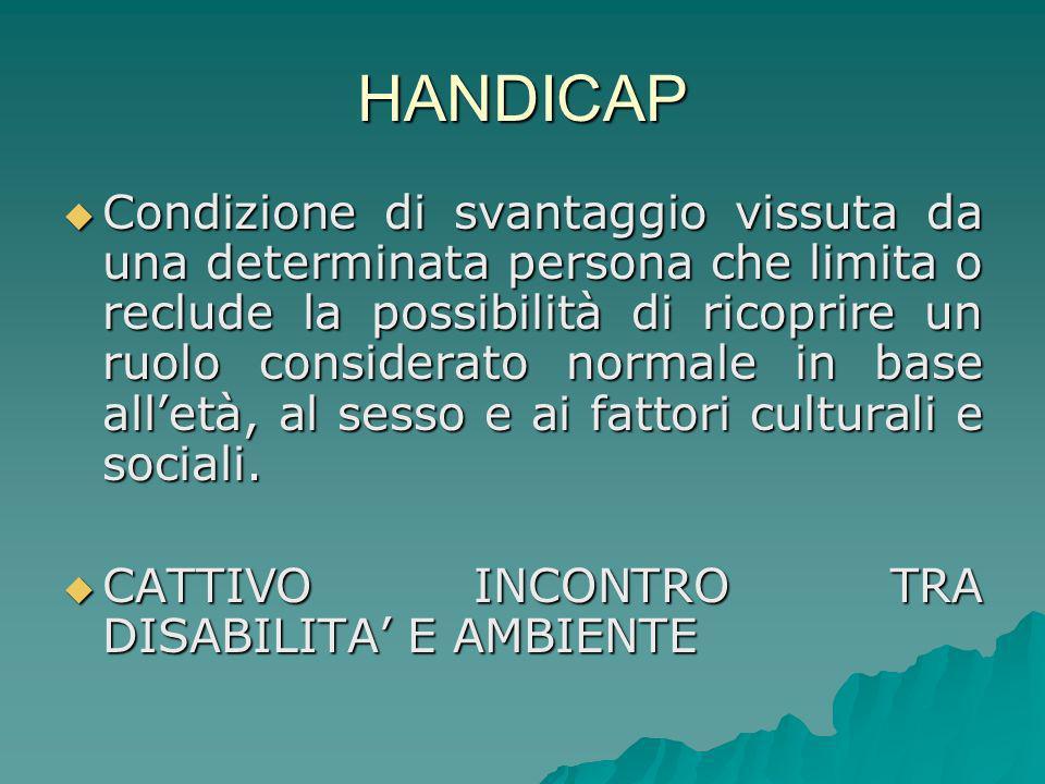 HANDICAP Condizione di svantaggio vissuta da una determinata persona che limita o reclude la possibilità di ricoprire un ruolo considerato normale in