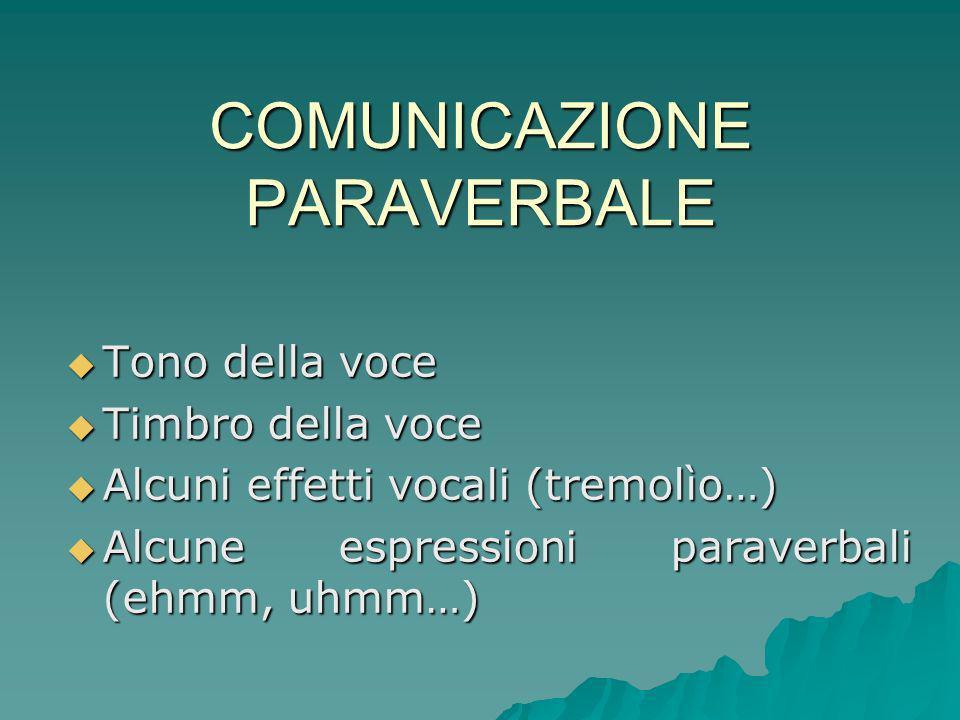 COMUNICAZIONE PARAVERBALE Tono della voce Tono della voce Timbro della voce Timbro della voce Alcuni effetti vocali (tremolìo…) Alcuni effetti vocali