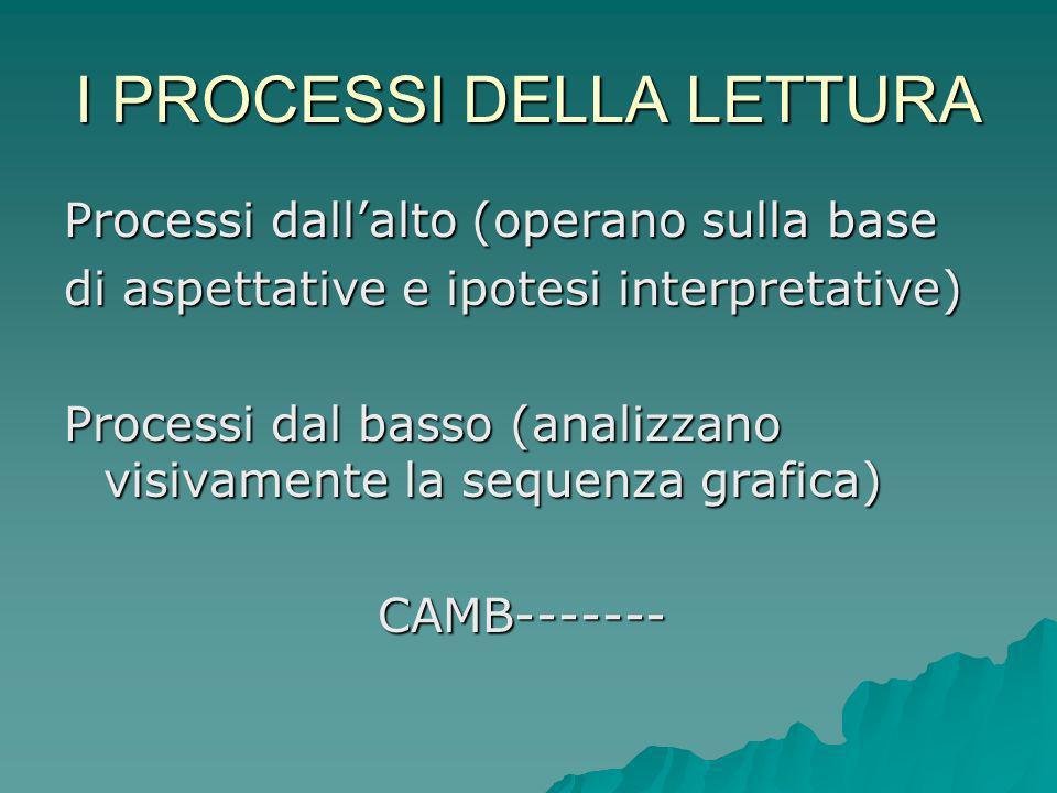 I PROCESSI DELLA LETTURA Processi dallalto (operano sulla base di aspettative e ipotesi interpretative) Processi dal basso (analizzano visivamente la