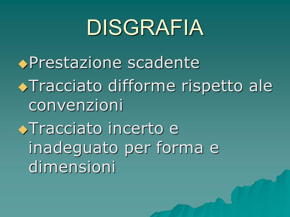 DISGRAFIA Prestazione scadente Prestazione scadente Tracciato difforme rispetto ale convenzioni Tracciato difforme rispetto ale convenzioni Tracciato