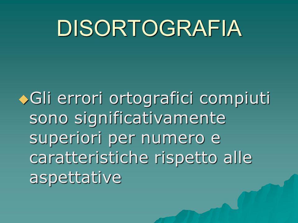 DISORTOGRAFIA Gli errori ortografici compiuti sono significativamente superiori per numero e caratteristiche rispetto alle aspettative Gli errori orto