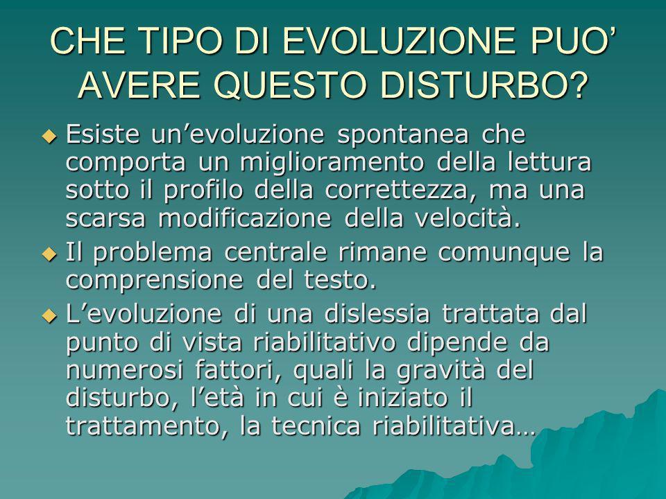 CHE TIPO DI EVOLUZIONE PUO AVERE QUESTO DISTURBO? Esiste unevoluzione spontanea che comporta un miglioramento della lettura sotto il profilo della cor