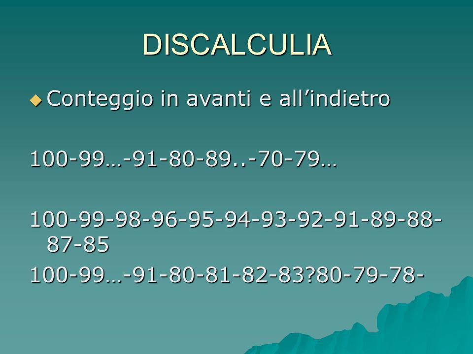 DISCALCULIA Conteggio in avanti e allindietro Conteggio in avanti e allindietro100-99…-91-80-89..-70-79… 100-99-98-96-95-94-93-92-91-89-88- 87-85 100-