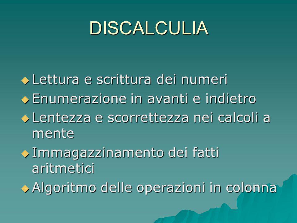 DISCALCULIA Lettura e scrittura dei numeri Lettura e scrittura dei numeri Enumerazione in avanti e indietro Enumerazione in avanti e indietro Lentezza