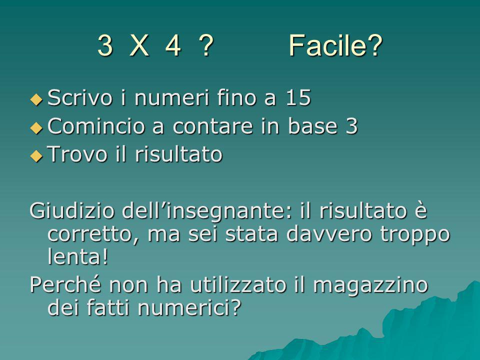 3 X 4 ? Facile? Scrivo i numeri fino a 15 Scrivo i numeri fino a 15 Comincio a contare in base 3 Comincio a contare in base 3 Trovo il risultato Trovo
