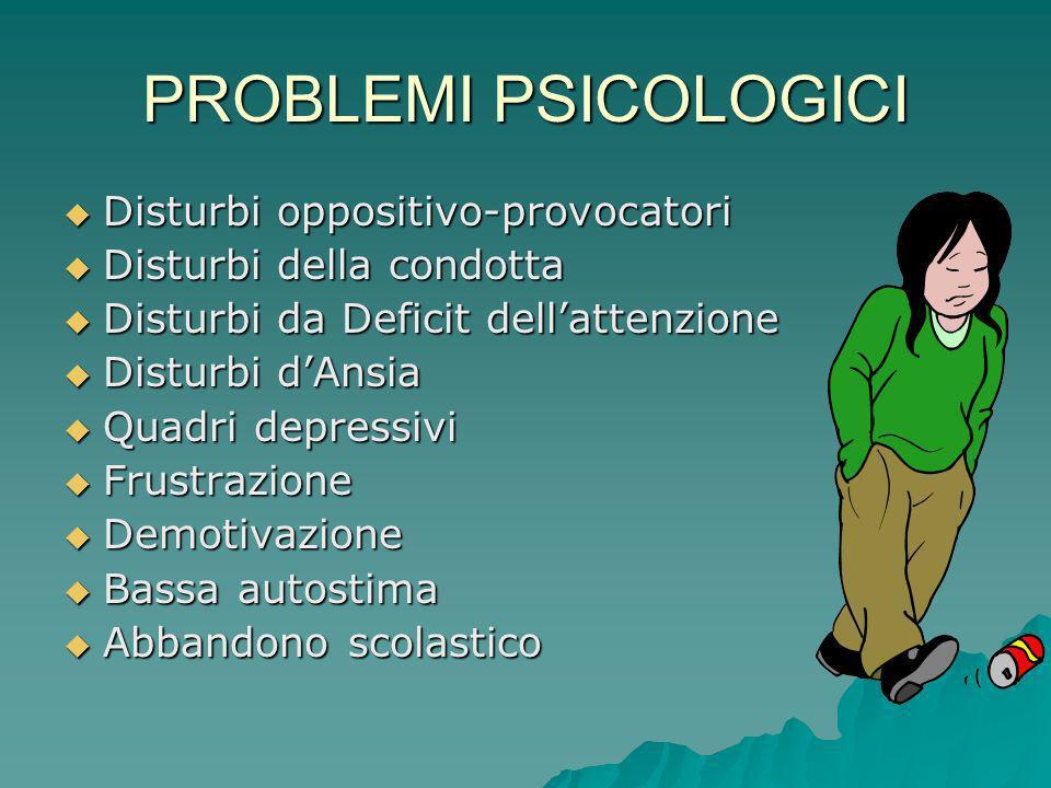 PROBLEMI PSICOLOGICI Disturbi oppositivo-provocatori Disturbi oppositivo-provocatori Disturbi della condotta Disturbi della condotta Disturbi da Defic