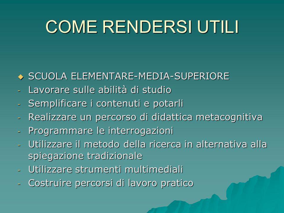 COME RENDERSI UTILI SCUOLA ELEMENTARE-MEDIA-SUPERIORE SCUOLA ELEMENTARE-MEDIA-SUPERIORE - Lavorare sulle abilità di studio - Semplificare i contenuti