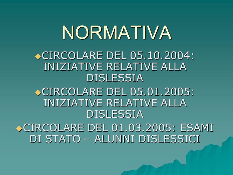 NORMATIVA CIRCOLARE DEL 05.10.2004: INIZIATIVE RELATIVE ALLA DISLESSIA CIRCOLARE DEL 05.10.2004: INIZIATIVE RELATIVE ALLA DISLESSIA CIRCOLARE DEL 05.0
