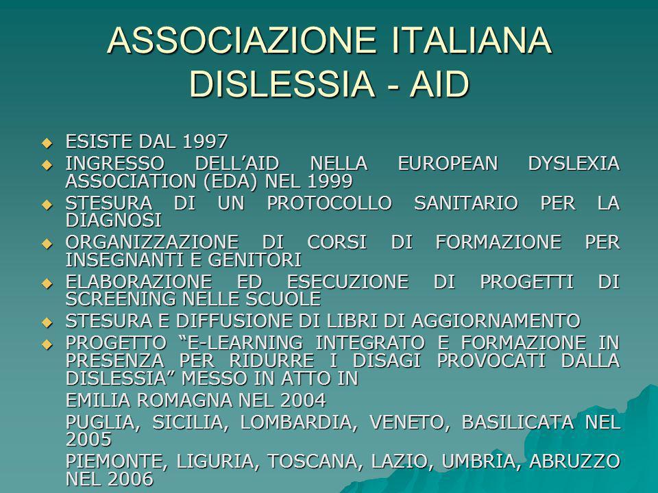 ASSOCIAZIONE ITALIANA DISLESSIA - AID ESISTE DAL 1997 INGRESSO DELLAID NELLA EUROPEAN DYSLEXIA ASSOCIATION (EDA) NEL 1999 STESURA DI UN PROTOCOLLO SAN