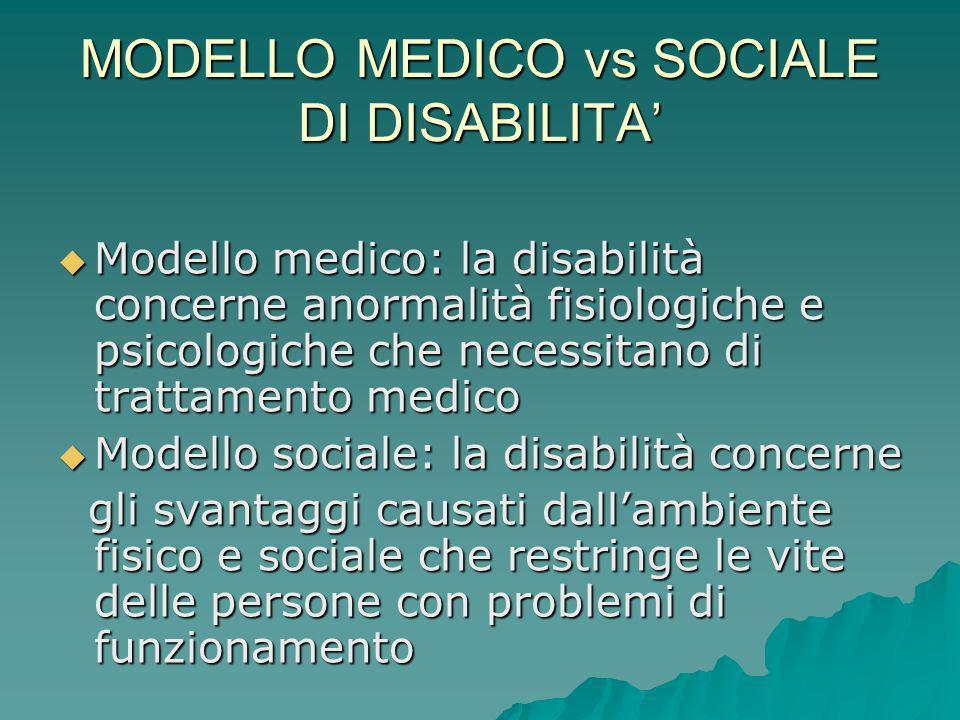 MODELLO MEDICO vs SOCIALE DI DISABILITA Modello medico: la disabilità concerne anormalità fisiologiche e psicologiche che necessitano di trattamento m